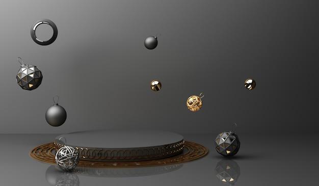 Goldene podestanzeige auf schwarzem abstraktem hintergrund mit minimaler porzellanpräsentation des geometrischen formprodukts