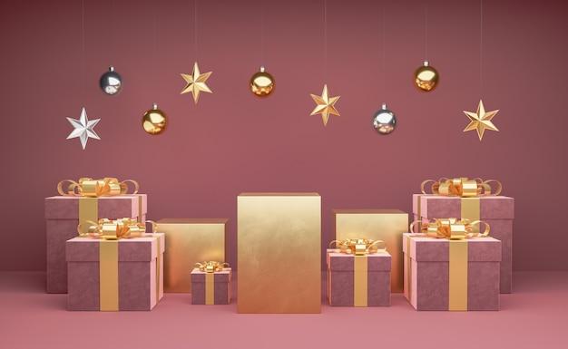 Goldene podeste mit geschenkboxen herum