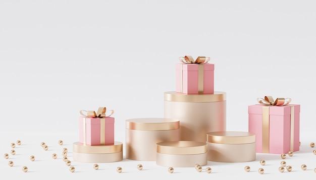 Goldene podeste oder podeste für produkte oder werbung mit geschenkboxen, 3d-rendering