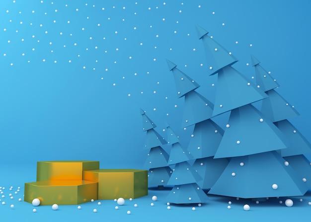 Goldene podiumanzeige für produktpräsentation, blaue weihnachtsbäume