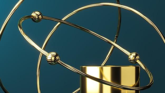 Goldene podiumsbälle und ring auf goldener plattform, abstrakter hintergrund für präsentation oder werbung. 3d-rendering