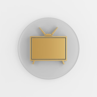 Goldene retro-tv-ikone im flachen stil. runder grauer schlüsselknopf des 3d-renderings, schnittstelle ui ux element.