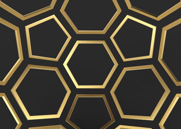 Goldene sechseckige und fünfeckige luxusform auf dunklem wandhintergrund.