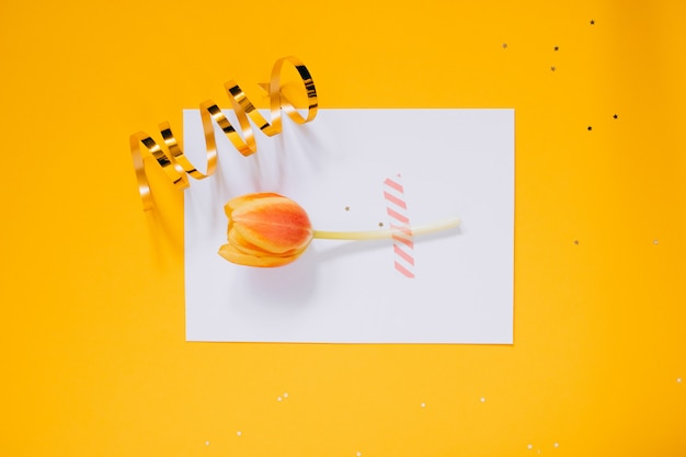 Goldene sterndekorationen des feiertags und weißer sauberer freier raum mit roter tulpe für ihren text auf gelbem hintergrund. planungskonzept