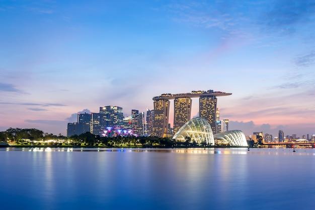 Goldene stunde in marina bay singapur