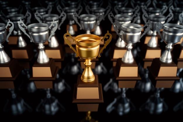 Goldene trophäe des einzigartigen meisters, die aus den führenden führungsgeschäftskonzepten der menge heraus steht.