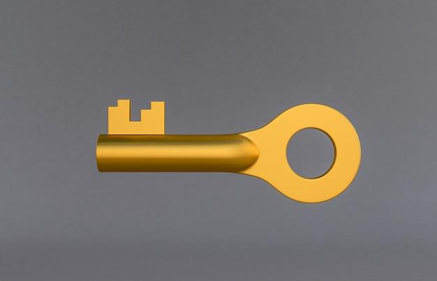 Goldene türschlüssel lokalisiert auf grauem hintergrund. 3d-rendering