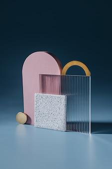 Goldene und rosa bögen mit acryl- und steinplatte auf blauem hintergrund Premium Fotos