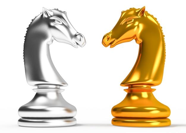 Goldene und silberne pferdefigur auf weißem hintergrund