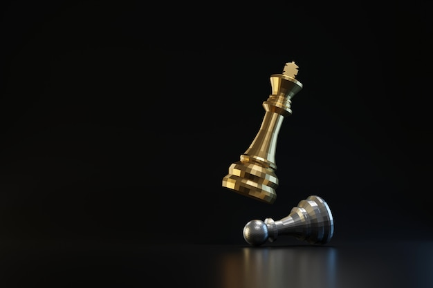 Goldene und silberne schachfigur an dunkler wand mit strategie oder planungskonzept. könig des schachs und der geschäftsideen. 3d-rendering.