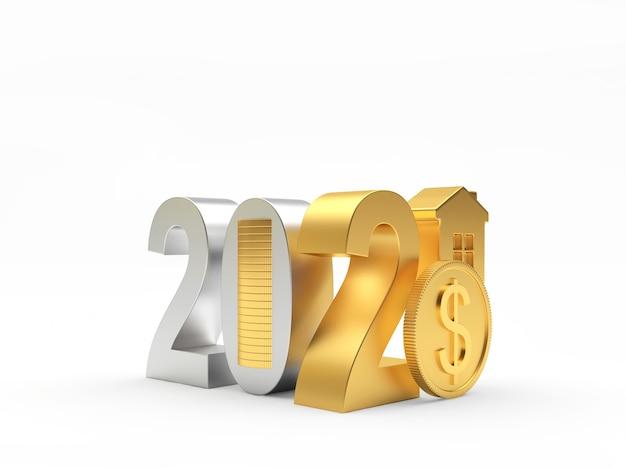 Goldene und silberne zahlen 2021 mit haus und münzen