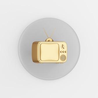 Goldene vintage tv-ikone. runder grauer schlüsselknopf des 3d-renderings, schnittstelle ui ux element.