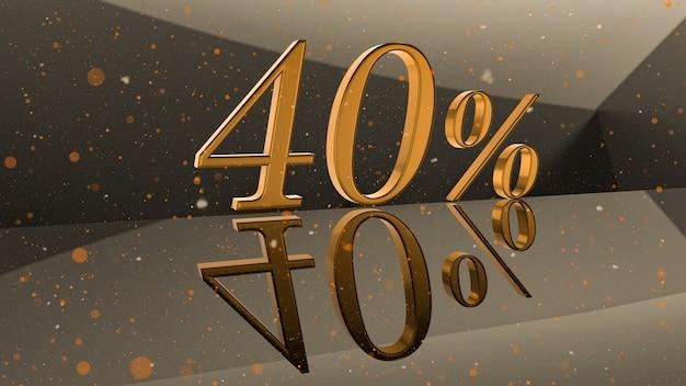 Goldene volumetrische zahl 40 prozent auf spiegeloberfläche mit runder partikelhintergrund 3d-darstellung