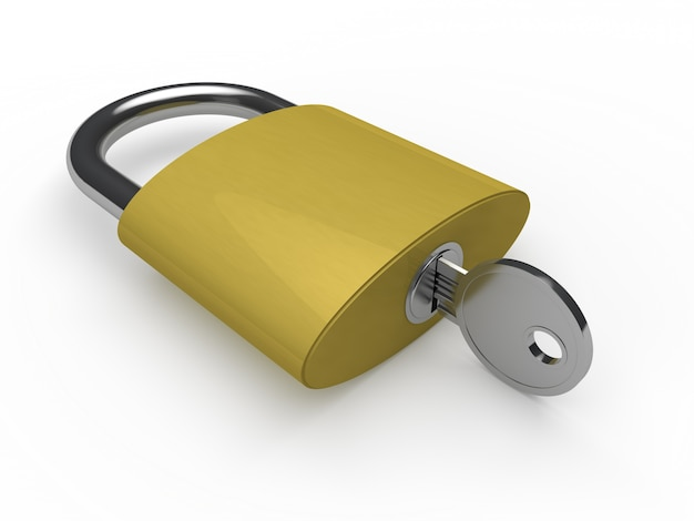 Goldene vorhängeschloss mit einem schlüssel