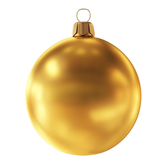Goldene weihnachtskugel auf weißem hintergrund