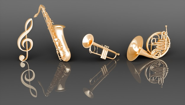 Goldene windmusikinstrumente auf einem schwarzen hintergrund, 3d illustration