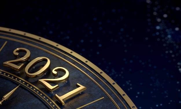 Goldene zahl 2021 nahaufnahme hintergrundpostkarte
