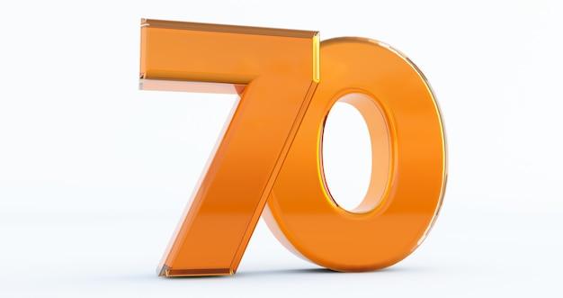 Goldene zahl 70 isoliert auf weißem hintergrund, 3d-darstellung der zahl 70