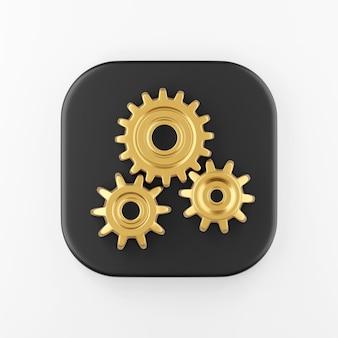 Goldene zahnräder-symbol. 3d-rendering-taste mit schwarzem quadrat, interface-ui-ux-element.