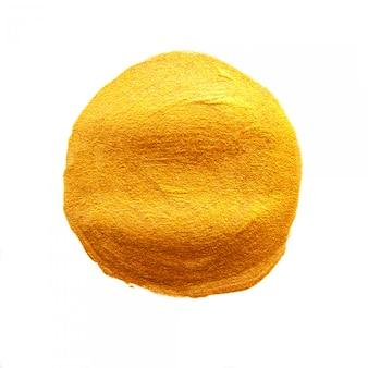 Goldener acryl gemalter kreis. glänzender backgroundd goldfleck der beschaffenheit lokalisiert
