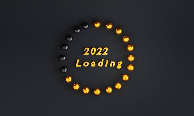 Goldener ball laden von 2021 bis 2022 auf schwarzem hintergrund für die vorbereitung frohe weihnachten und ein glückliches neues jahr durch 3d-rendering.