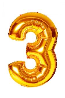 Goldener ballon der nr. drei getrennt auf weiß