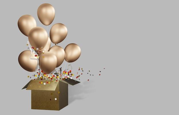 Goldener ballon mit schachtel öffnen sie einen karton, lassen sie einen ballon los und feiern sie den großen tag.