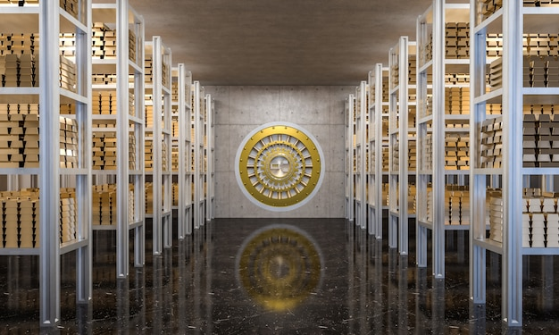 Goldener barren im banktresor