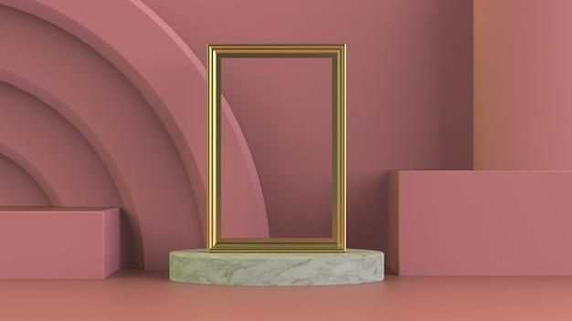 Goldener bilderrahmen auf weißer marmorpodestkomposition