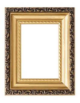Goldener bilderrahmen isoliert. objekt im vintage-stil
