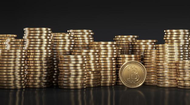 Goldener bitcoin (btc) unter goldenen münzen, die in verschiedenen positionen aufeinander gestapelt sind. 3d-rendering