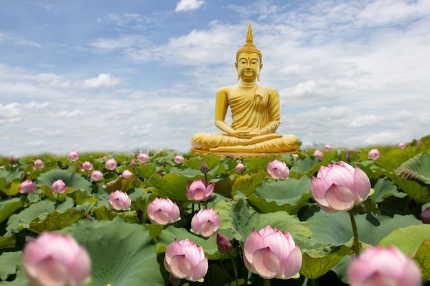 Goldener buddha mit lotosblumen