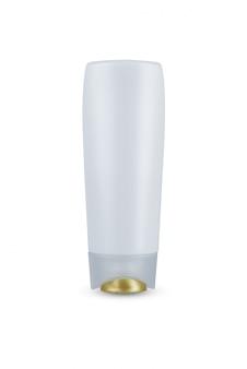Goldener deckel, kosmetisches hygieneshampoo der plastikflasche des weißen körpers, conditioner mit der körperbefeuchtung lokalisiert