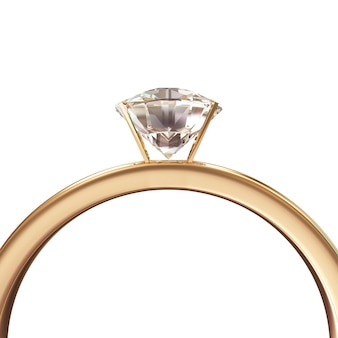 Goldener ehering mit diamant isoliert