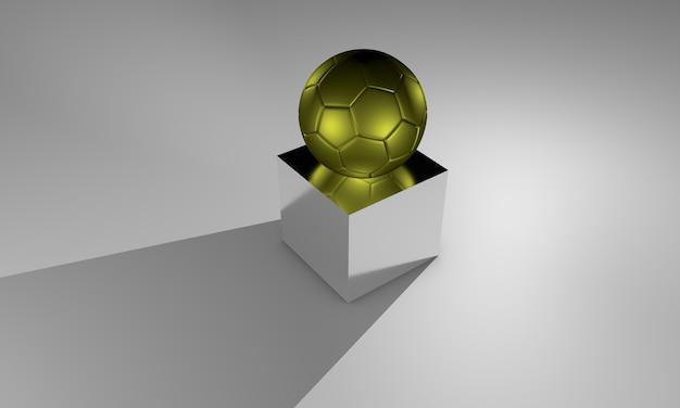 Goldener fußball auf reflektierender theke