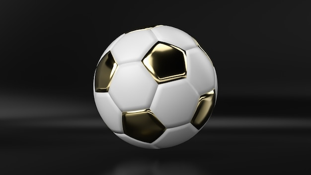 Goldener fußball auf schwarzem hintergrund, 3d übertragen.