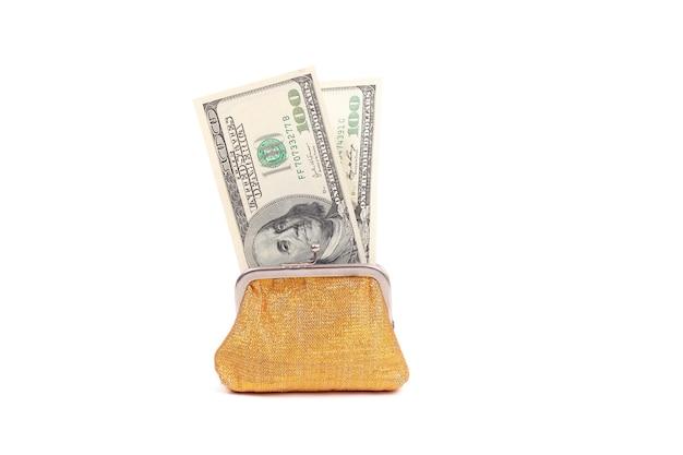 Goldener geldbeutel mit dollar, konzept des black friday