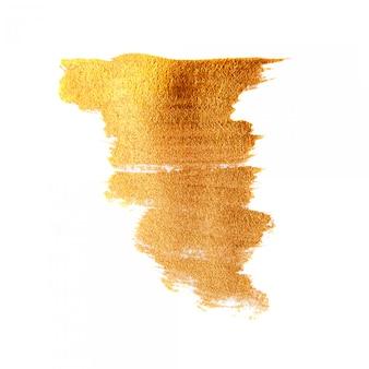 Goldener gemalter bürstenbeschaffenheitshintergrund. glänzender goldacrylfleck lokalisiert