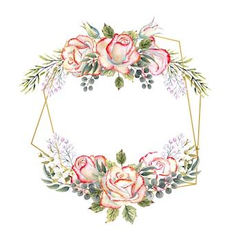 Goldener geometrischer rahmen mit einem strauß weißer rosen mit blättern, dekorativen zweigen und beeren. aquarellillustration für logos, einladungen, grußkarten