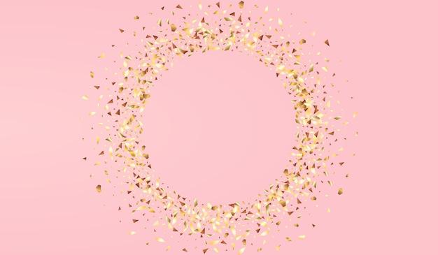 Goldener glühen-jahrestag-vektor-rosa-hintergrund. weihnachten glanz textur. wallpaper von gelber dreieck-effekt für dein pc. staub goldene kulisse.