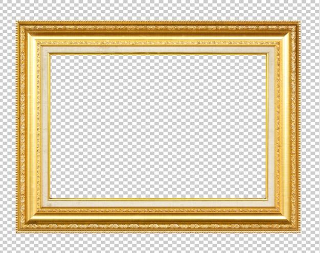 Goldener holzrahmen lokalisiert auf transparen