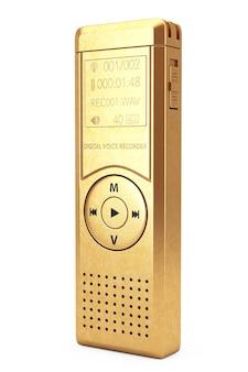Goldener journalist digital voice recorder oder diktiergerät auf weißem hintergrund. 3d-rendering