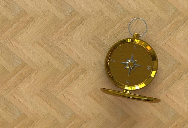 Goldener kompass lokalisiert auf holztisch, wiedergabe 3d