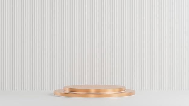 Goldener kreis podium für produktpräsentation auf weißem lattenwandhintergrund minimaler stil., 3d-modell und illustration.