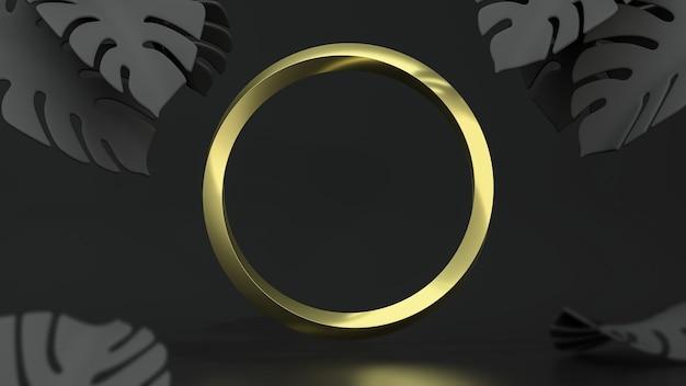 Goldener kreisrahmen auf schwarzem hintergrund mit monstera-blättern. 3d-illustration. draufsicht. abstrakte blumengeometrie modell, schwarze schlüsselbeleuchtung.