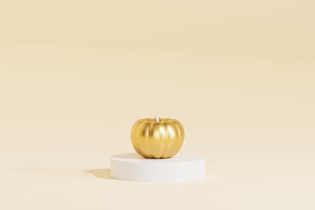 Goldener kürbis auf beigem hintergrund für werbung an herbstferien oder verkäufen, 3d-rendering