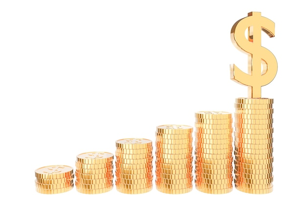 Goldener münzstapel, geldspar- und investitionskonzept sowie sparideen und finanzielles wachstum. 3d-rendering