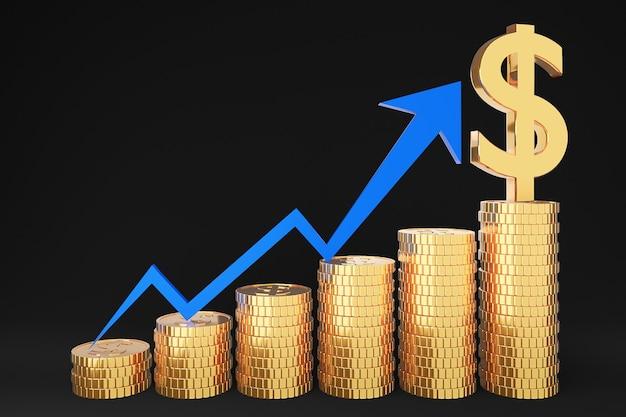 Goldener münzstapel und finanzdiagramm auf schwarzem hintergrund
