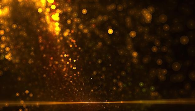 Goldener partikelstaubhintergrund mit bokeh-effekt