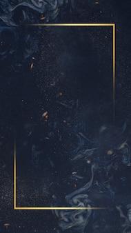 Goldener rahmen auf blauem hintergrund
